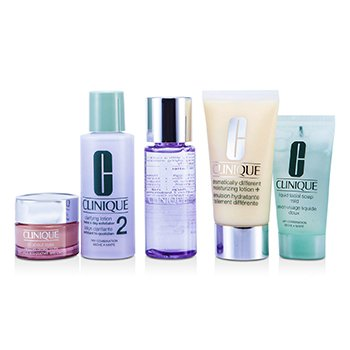 Clinique Set Exclusivo: DDML Plus 50ml + All About Eyes 15ml + Jabón Líquido 30ml + Loción Aclarante #2 60ml + Removedor de Maquillaje 50ml  5pcs