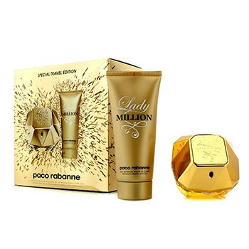 Paco Rabanne Lady Million Special Travel Edition Coffret: Eau De Parfum Spray 80ml/2.7oz + Sensual Body Lotion 100ml/3.4oz  2pcs