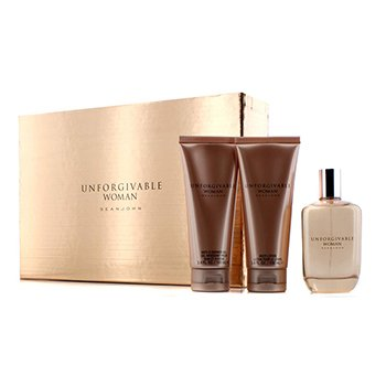 Sean John Bộ Unforgivable: Parfum Spray 125ml/4.2oz + Dưỡng Thể 100ml/3.4oz + Gel Tắm 100ml/3.4oz  3pcs