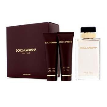 Dolce & Gabbana Pour Femme Coffret (New Version): Eau De Parfum Spray 100ml/3.3oz + Body Lotion 50ml/1.6oz + Shower Gel 50ml/1.6oz  3pcs