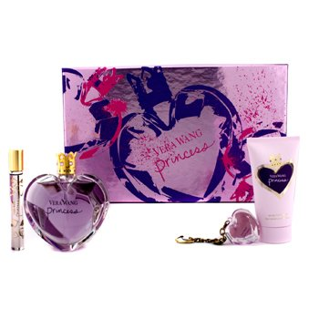 Vera Wang Princess Coffret: Eau De Toilette Spray 100ml/3.4oz + Loci�n Corporal Satinada 75ml/2.5oz + Llavero Brillo de Labios 2g/0.07oz + Eau De Toilette Rollerball 10ml/0.33oz  4pcs