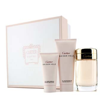Cartier Baiser Vole Coffret: Eau De Parfum Spray 100ml/3.3oz + Shower Gel 100ml/3.3oz + Losyen Badan 50ml/1.6oz  3pcs
