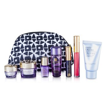 Estee Lauder Travel Set: Makeup Remover 30ml + Optimizer 30ml + Day Cream 15ml + Serum 7ml + Eye Cream 5ml + Mascara #01 + Lip Gloss #30 + Bag  7pcs+1bag