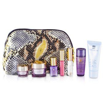 Estee Lauder Travel Set: Cleanser 30ml + Optimizer 30ml + Neck Cream 15ml + Serum 7ml + Eye Cream 5ml + Mascara #01 + Lip Gloss #26 + Bag  7pcs+1bag