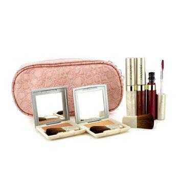 คาเนโบ้ ชุดกระเป๋าเครื่องสำอาง Cheek & Lip Makeup Set With Pink Cosmetic Bag (2xCheek Color, 3xMode Gloss, 1xBrush, 1xCosmetic Bag)  6ชิ้น+1ใบ