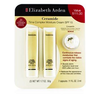 Elizabeth Arden Ceramide Set: 2x Time Complex Moisture Cream SPF 15 50g + Advanced Time Complex Capsules 3ml  3pcs
