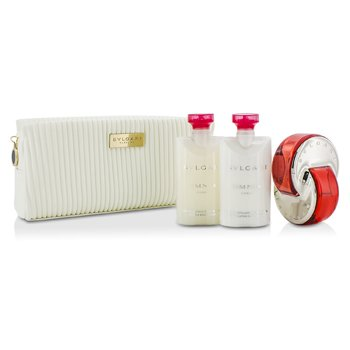 Bvlgari Omnia Coral Coffret: Eau De Toilette Spray. 65ml/2.2oz + Losyen Badan 75ml/2.5oz + Body Scrub 75ml/2.5oz + Beg  3pcs+pouch