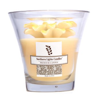 Northern Lights Candles Floral Vase Premium Candle - Yellow Daisy  5 inch