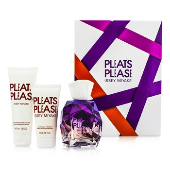 Issey Miyake Pleats Please Coffret: EDP Spray 100ml/3.3oz + Loción Corporal 75ml/2.5oz + Gel de Ducha 50ml/1.6oz  3pcs