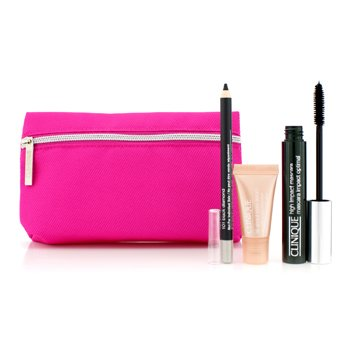 Clinique High Impact Favourites Set: High Impact Mascara + Cream Shaper For Eyes + All About Eyes Serum + Bag  3pcs+1bag