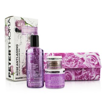 Peter Thomas Roth Rose Anti-Aging 3pc Kit: Cleansing Gel 100ml/3.3oz + Gel Mask 50ml/1.7oz + Lip Balm 11g/0.4oz  3pcs+1bag