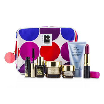 Estee Lauder Travel Set: Makeup Remover 30ml + Revitalizing Supreme Creme 15ml + Eye Balm 5ml + ANR II 7ml + Mascara 2.8ml + Lipstick #88 3.8g + Bag  6pcs+1bag