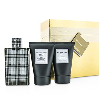 Burberry Brit Coffret: Eau De Toilette Spray 100ml/3.3oz + Gel Limpiador Corporal 100ml/3.3oz + B�lsamo para Despu�s de Afeitar 100ml/3.3oz (Caja Dorada)  3pcs