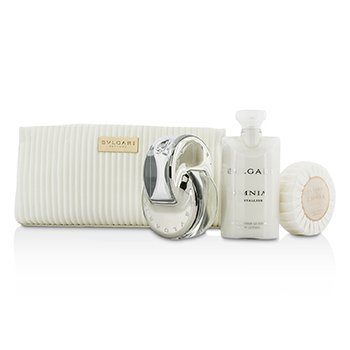 Bvlgari Omnia Crystalline Coffret: Eau De Toilette Spray 65ml/2.2oz + Jabón 75g/2.6oz + Loción Corporal 75ml/2.5oz + Bolsa  3pcs+1pouch