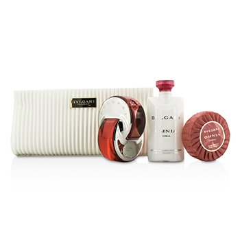 Bvlgari Omnia Coral Coffret: Eau De Toilette Spray 65ml/2.2oz + Soap 75g/2.6oz + Loci�n Corporal 75ml/2.5oz + Bolsa  3pcs+pouch