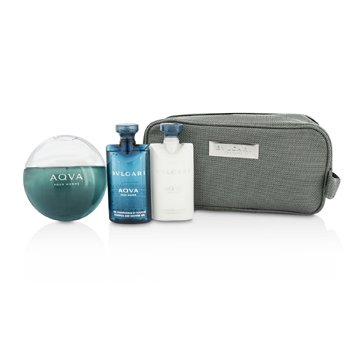 Bvlgari Aqva Pour Homme Kofre: EDT Sprey 100ml/3.4oz + Şampuan ve Duş Jeli 75ml/2.5oz + After Shave Balsam 75ml/2.5oz + Pouch  3pcs+1pouch