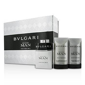 Bvlgari Man Extreme Coffret: Eau De Toilette Spray 60ml/2oz + Bálsamo para Depués de Afeitar 75ml/2.5oz + Gel Ducha 75ml/2.5oz  3pcs