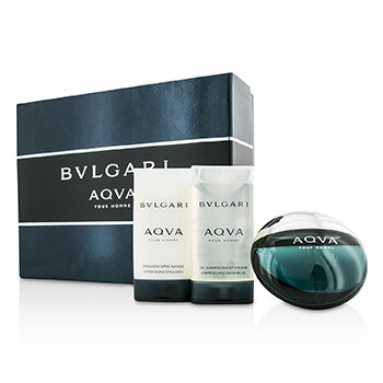 Bvlgari Aqva Pour Homme Coffret: Eau De Toilette Spray 50ml/1.7oz + Emulsi�n para Depu�s de Afeitar 75ml/2.5oz + Gel Ducha 75ml/2.5oz  3pcs
