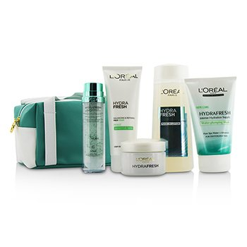 L'Oreal Hydrafresh Spa Experience Set: Mask-In Loci�n200ml + Esencia 50ml + Emulsi�n50ml + Mascarilla100ml + Espuma Suave100ml + Bolsa  5pcs+1bag