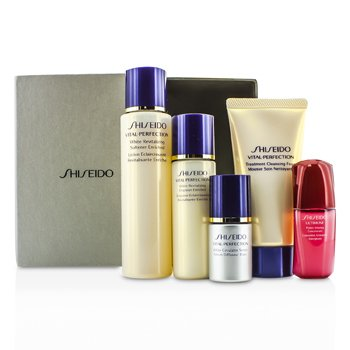 Shiseido Vital-Perfection Set: Pjena za čišćenje 50ml + Softener 75ml +  Emulsion 30ml + Ultimune Concentrate 10ml + Serum 10ml  5pcs