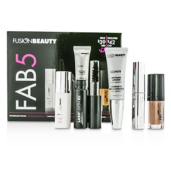 Fusion Beauty Fusion Beauty Fab5 Set: 1x Primer, 1x Mascara, 1x Lip Plump, 1x Lip Gloss, 1x Lip Luminizer  5pcs