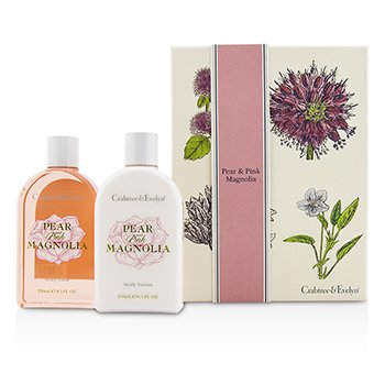 Crabtree & Evelyn Pear & Pink Magnolia Duo: Body Wash 250ml + Body Lotion 250ml  2pcs