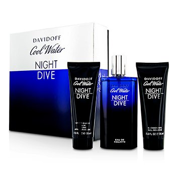 Davidoff Cool Water Night Dive Kofre: EDT Sprey 125ml/4.2oz + Tıraş Sonrası Balsam 75ml/2.5oz + Duş Jeli 75ml/2.5oz  3pcs