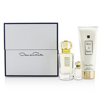 Oscar De La Renta Live In Love Set: Apă de Parfum Spray 50ml/1.7oz + Apă de Parfum Miniatură 4ml/0.13oz + Loţiune de Corp 100ml/3.4oz  3pcs