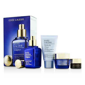 Estee Lauder Skintone/Spot Correction Set: Enlighten Serum 50ml + Creme 15ml + ANR Eye Complex II 5ml + Perfectly Clean 30ml  4pcs