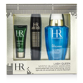 Helena Rubinstein Lash Queen Mystic Blacks Mascara Set: Mascara 7ml/0.24oz + MakeUp Remover 50ml/1.69oz + Powercell 3ml/0.15oz  3pcs