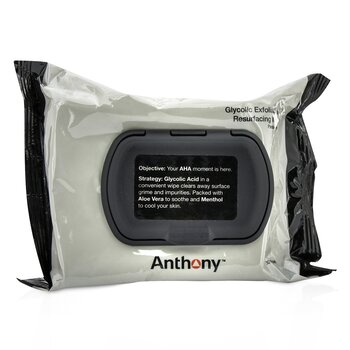 Anthony Logistics For Men Toallitas Glicólicas Exfoliantes & Rejuvenecedoras  30wipes