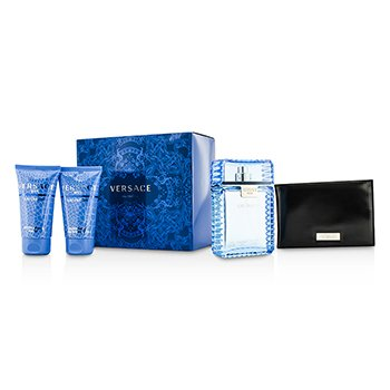 Versace Eau Fraiche Coffret: Eau De Toilette Spray 100ml/3.4oz + After Shave Balm 50ml/1.7oz + Bath & Shower Gel 50ml/1.7oz + Black Wallet  4pcs