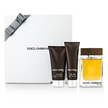Dolce & Gabbana The One Coffret: Eau De Toilette Spray 100ml/3.3oz + B�lsamo para Despu�s de Afeitar 75ml/2.5oz + Gel de Ducha 50ml/1.6oz (Silver Box)  3pcs
