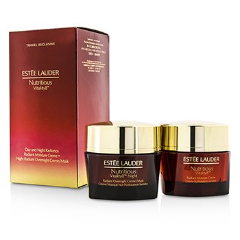 Estee Lauder Nutritious Vitality8 Day & Night Radiance: Moisture Creme 50ml + Overnight Creme/Mask 50ml  2x50ml/1.7oz