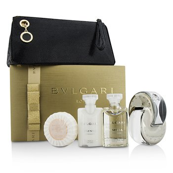 Bvlgari Omnia Crystalline Coffret: Eau De Toilette Spray 65ml/2.2oz + testápoló lotion 40ml/1.35oz + tusolózselé 40ml/1.35oz + szappan 50g/1.76oz + táska  4pcs+1pouch