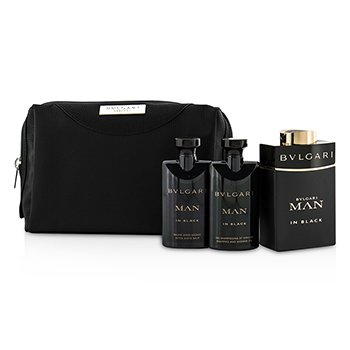 Bvlgari In Black Coffret: Eau De Parfum Spray 100ml/3.4oz + After Shave Balm 75ml/2.5oz + Shower Gel 75ml/2.5oz + Pouch  3pcs+1pouch