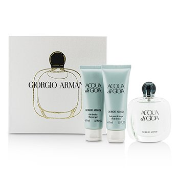 Giorgio Armani Acqua Di Gioia Coffret: Eau De Parfum Spray 50ml/1.7oz + Loción Corporal 75ml/2.5oz + Gel de Ducha 75ml/2.5oz  3pcs