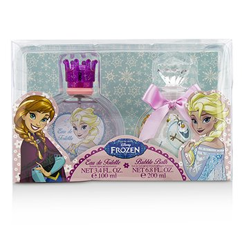 Air Val International Disney Frozen Coffret: Eau De Toilette Spray 100ml/3.4oz + Ba�o de Burbujas 200ml/6.8oz  2pcs