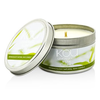 iKOU Eco-Luxury Aromacology Natural Wax Candle Tin - Calm (Lemongrass & Lime)  230g/8oz