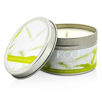 iKOU Eco-Luxury Aromacology Natural Wax Candle Tin - Happiness (Coconut & Lime)  230g/8oz