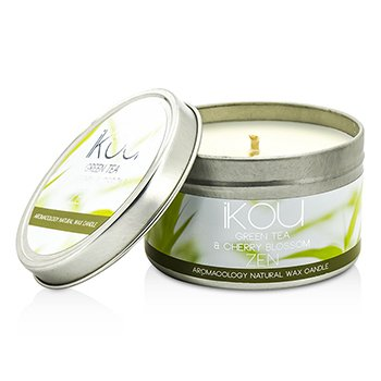 iKOU Eco-Luxury Aromacology Natural Wax Candle Tin - Zen (Green Tea & Cherry Blossom)  230g/8oz