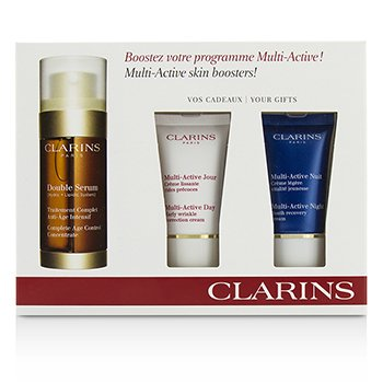 Clarins Multi-Active Skin Boosters: Double Serum 30ml + Day Cream 15ml + Night Cream 15ml  3pcs