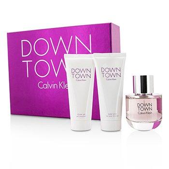 Calvin Klein ชุด Downtown Coffret: สเปรย์น้ำหอม EDP 90ml/3oz + โลชั่นทาผิว Body Lotion 100ml/3.4oz + เจลอาบน้ำ Shower Gel 100ml/3.4oz  3pcs