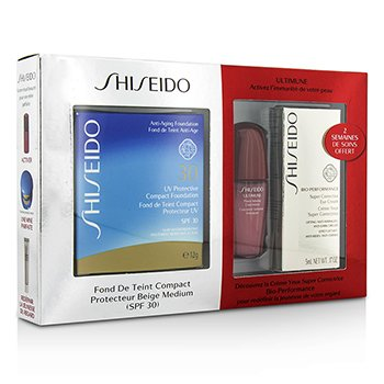 Shiseido UV Protective Powder Coffret: 1xUltimune Concentrado, 1xBio Performance Crema Ojos, 1x Base Compacta- #SP60  3pcs