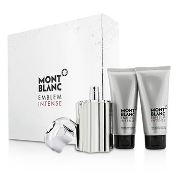 Mont Blanc Emblem Intense Coffret: Eau De Toilette Spray 100ml/3.3oz + Gel de Ducha 100ml/3.3oz + Bálsamo para Después de Afeitar 100ml/3.3oz  3pcs