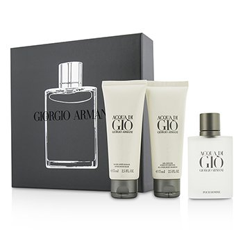 Giorgio Armani Acqua Di Gio Coffret: Eau De Toilette Spray 50ml/1.7oz + Champ� Total 75ml/2.5oz + B�lsamo para Despu�s de Afeitar 75ml/2.5oz  3pcs
