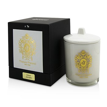 Tiziana Terenzi Glass Candle with Gold Decoration & Wooden Wick - Lillipur (White Glass)- Lilin  170g/6oz