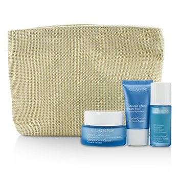 Clarins Moisture Must-Haves Set: HydraQuench Cream 50ml + Serum 15ml + Cream Mask 15ml + Bag  3pcs+1bag