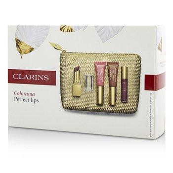 Clarins Colección Colorama Perfect Lips: 1x Rouge Eclat, 2x Lip Perfector, 1x Gloss Prodige, 1x Bolsa  4pcs+1bag