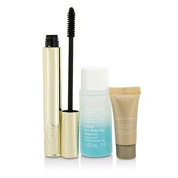 Clarins Pump Up The Volume Set: 1x Wonder Volume M�scara, 1x Mini Demaquillante Ojos, 1x Mini Corrector Instant�neo  3pcs